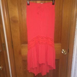 Aéropostale Coral Floor-Length Skirt
